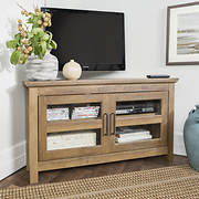 "W. Trends 44"" Wood Corner TV Console - Rustic Oak"