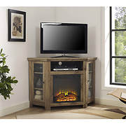 "W. Trends 48"" Wood Corner Fireplace TV Stand Console - Barnwood"