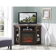 "W. Trends 48"" Wood Corner Fireplace TV Stand Console - Traditional Bro"
