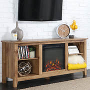 "W. Trends 58"" Wood Fireplace TV Stand Console- Barnwood"