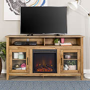 "W. Trends 58"" Wood Highboy Fireplace Media TV Stand Console - Barnwood"