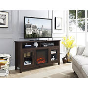 "W. Trends 58"" Wood Highboy Fireplace Media TV Stand Console - Traditio"