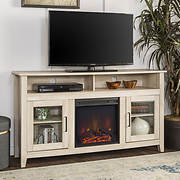 "W. Trends 58"" Wood Highboy Fireplace Media TV Stand Console - White Oa"