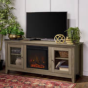 "W. Trends 58"" Wood Fireplace Media TV Stand Console - Driftwood"