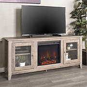 "W. Trends 58"" Wood Fireplace Media TV Stand Console - Gray Wash"