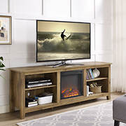 "W. Trends 70"" Wood Fireplace Media TV Stand Console - Barnwood"