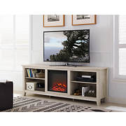 "W. Trends 70"" Wood Fireplace Media TV Stand Console - White Oak"