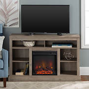 "W. Trends 52"" Fireplace TV Console with Open Storage - Gray Wash"