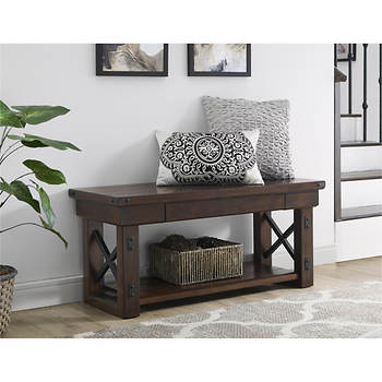 Wood Veneer Entryway Bench Espresso 0