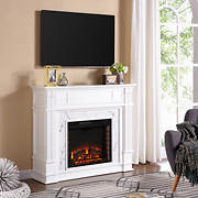 SEI Brecken Faux Cararra Marble Electric Media Fireplace - White