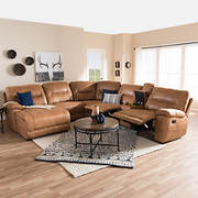 Baxton Studio Suede 6-Pc. Sectional with Recliners