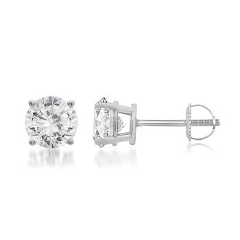 T W Round Cut Diamond Stud Earrings In 14k White Gold