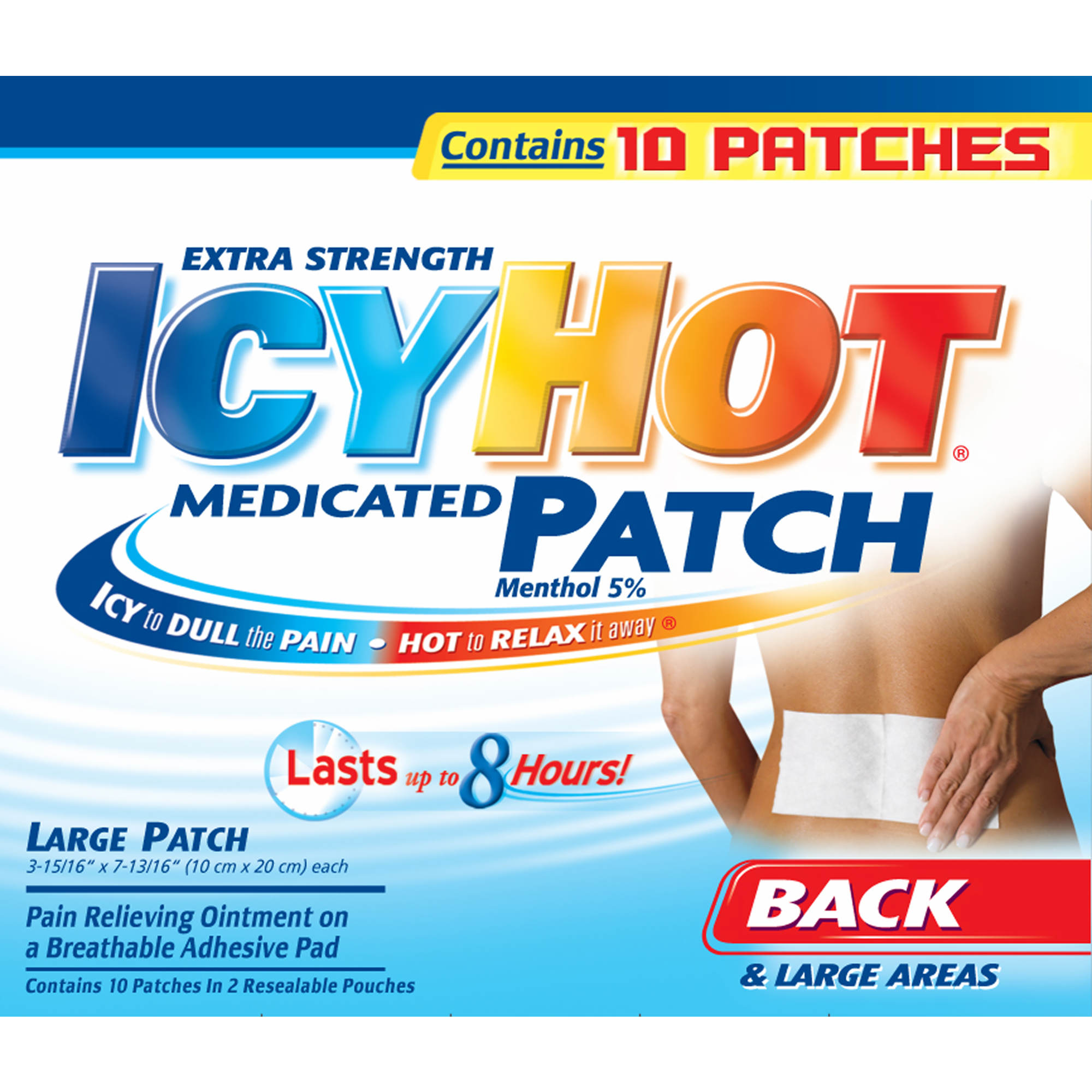 Icy Hot Medicated Patch Xl Back Large Areas 10 Ct Bjs