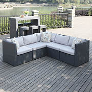 Handy Living Azura Rattan Indoor/Outdoor Sectional - Gray/Gray