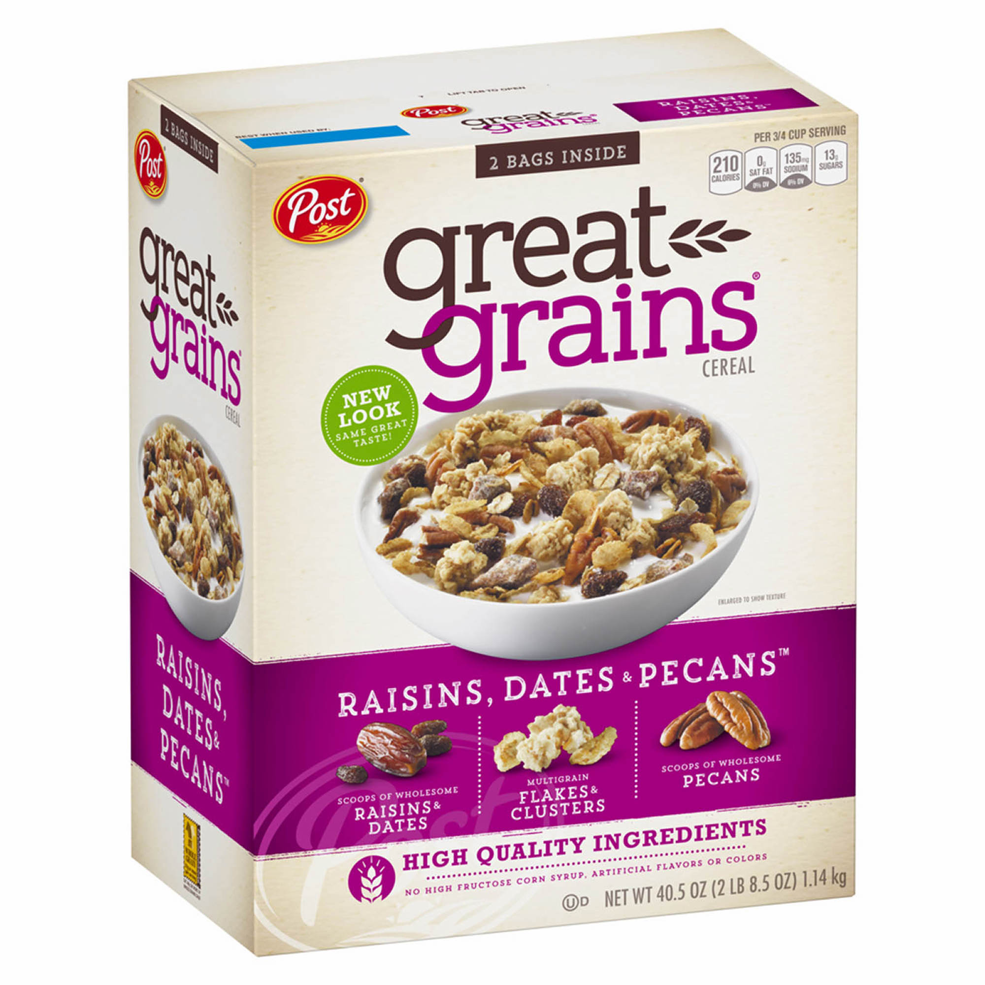 Post Great Grains Raisins, Dates And Pecans, 40.5 Oz.