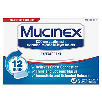 Mucinex Maximum Strength Expectorant 48 Ct Bjs Wholesale Club
