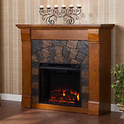 "SEI Winter Haven 42"" TV Stand Electric Fireplace - Salem Antique Oak"