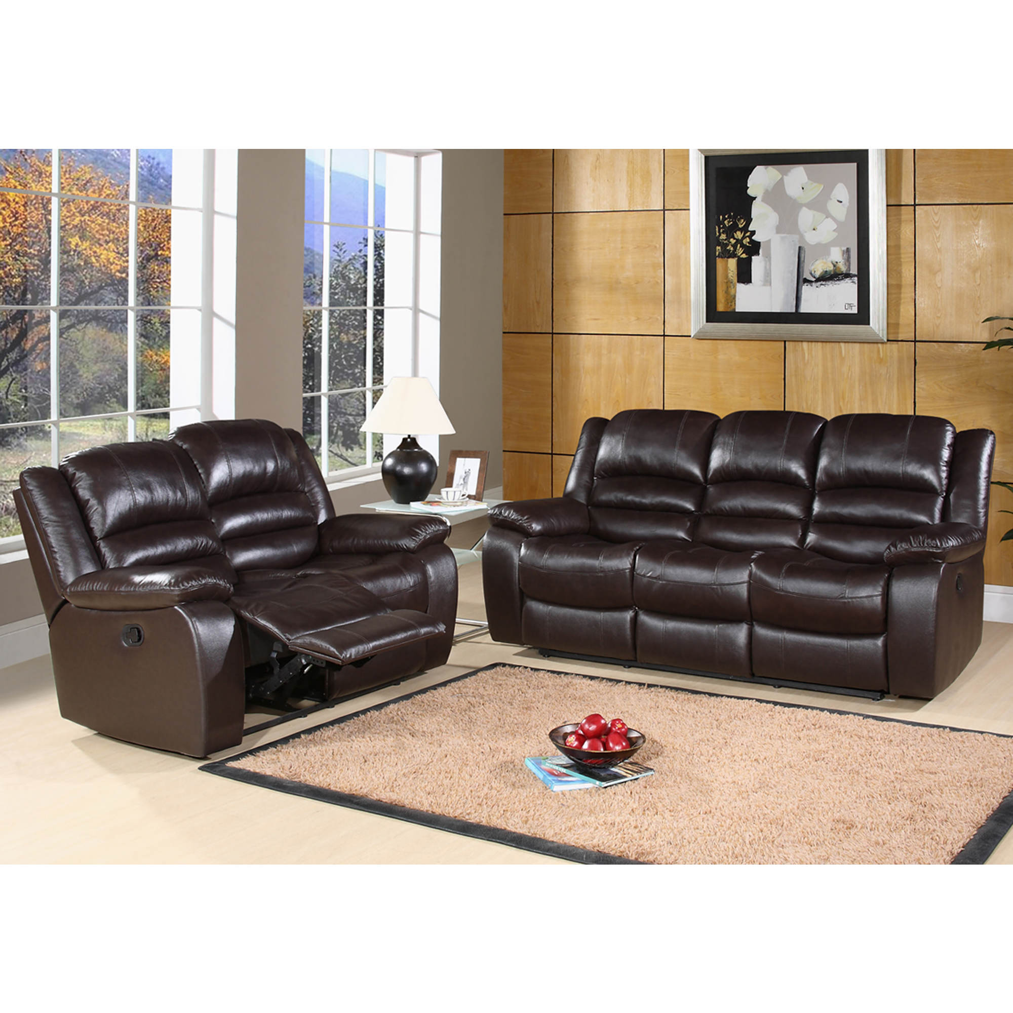 Abbyson Living Cayman 2-Pc. Top-Grain Italian Leather