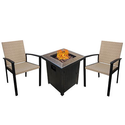 Monroe 3-Pc. Chair and Fire Pit Set - Dark Brown/Beige