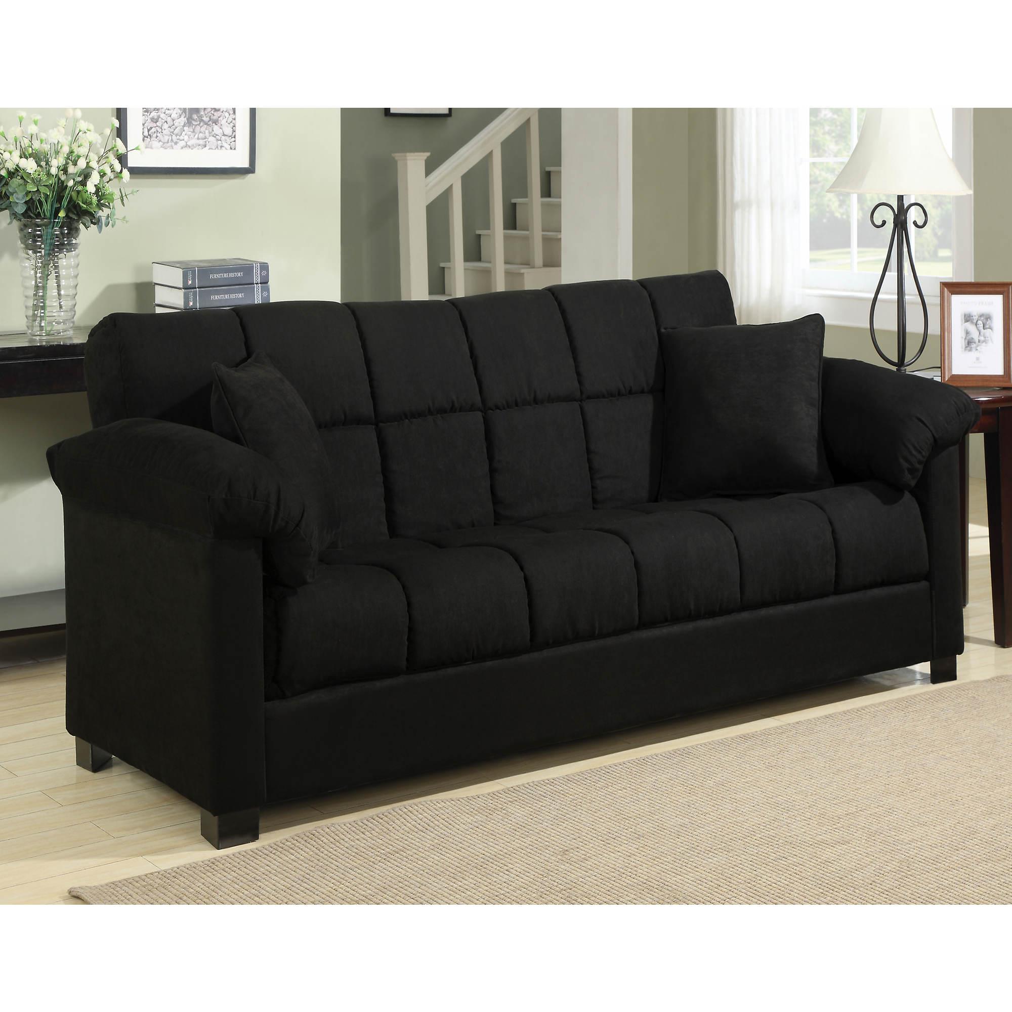 Black Leather Full Size Sleeper Sofa Hereo Sofa