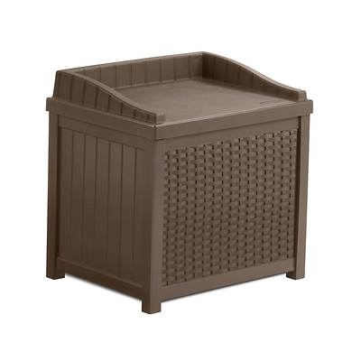 Suncast 22-Gal. Resin Wicker Deck Box - Brown