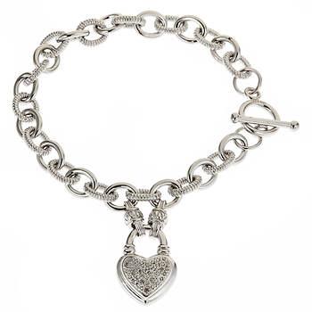 T W Diamond Heart Toggle Bracelet In Sterling Silver