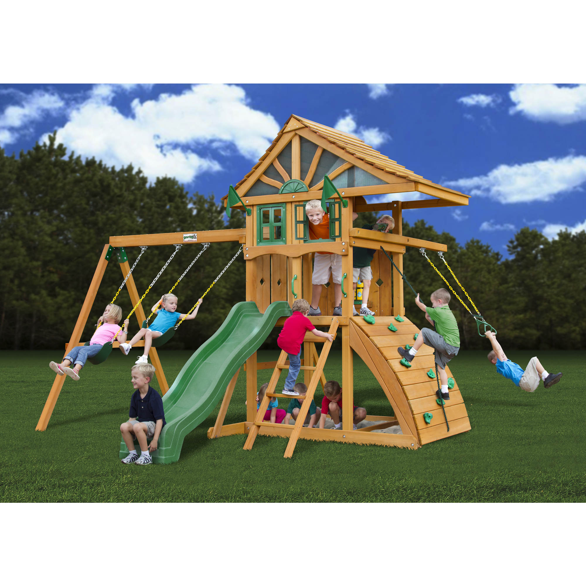 set playsets outdoor for appealing wooden kids swings playset playground furniture sets with frontier captivating play ideas treehouse swing tire cedar costco plans gorilla