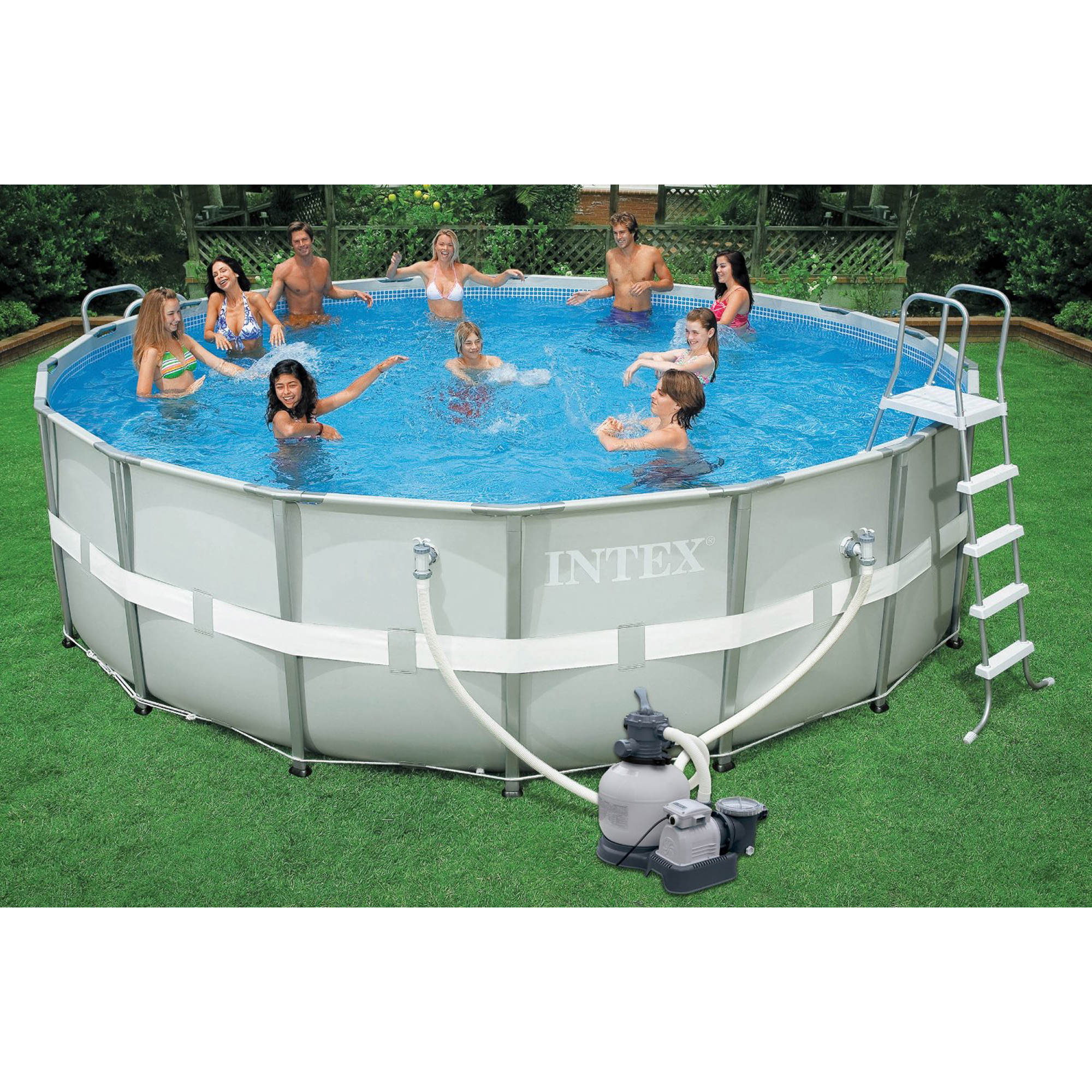 intex 18 39 x 52 round aboveground ultra frame pool bj 39 s wholesale club. Black Bedroom Furniture Sets. Home Design Ideas