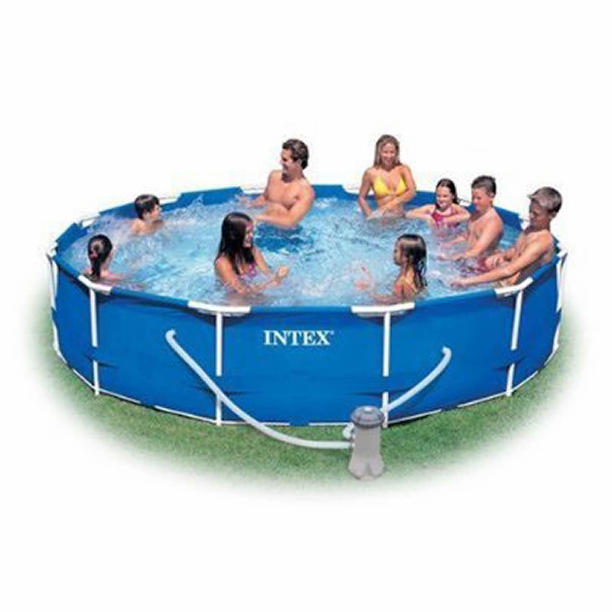 intex 12 39 x 30 round aboveground metal frame pool bj 39 s wholesale club. Black Bedroom Furniture Sets. Home Design Ideas