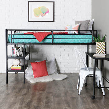 W Trends Twin Size Loft Bed With Desk And Shelves Black