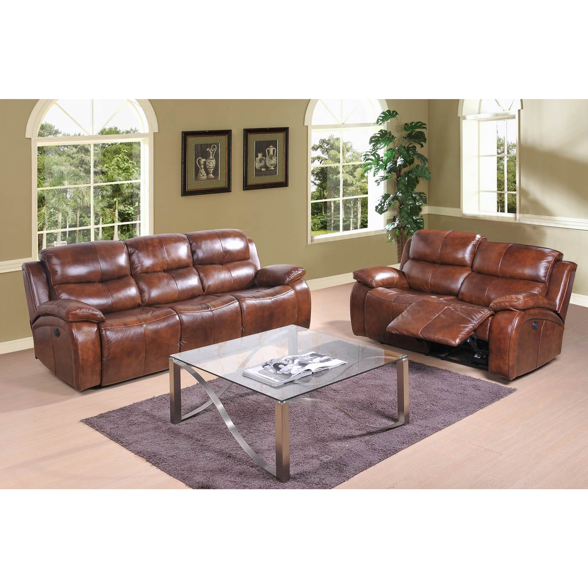 Abbyson Living Wesley 3-Pc. Top-Grain Leather Living Room