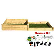 Eden 4' x 8' Raised Garden Bed with Bonus Watering Kit - Natural Wood