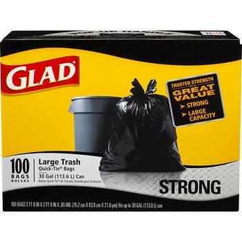 Glad 30 Gal Quick Tie Large Plastic Trash Bags 100 Ct