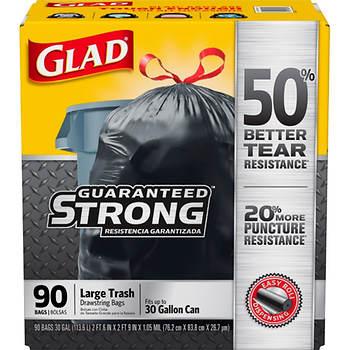 Glad 30 Gal Black Drawstring Plastic Trash Bags 90 Ct