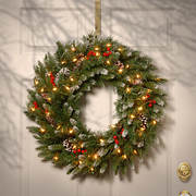 "National Tree Company 24"" Pre-Lit and Decorated Artificial Wreath - Cl"