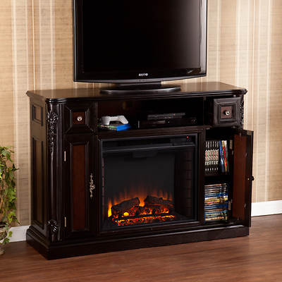 Sei Adylane Media Console Electric Fireplace Ebony Red
