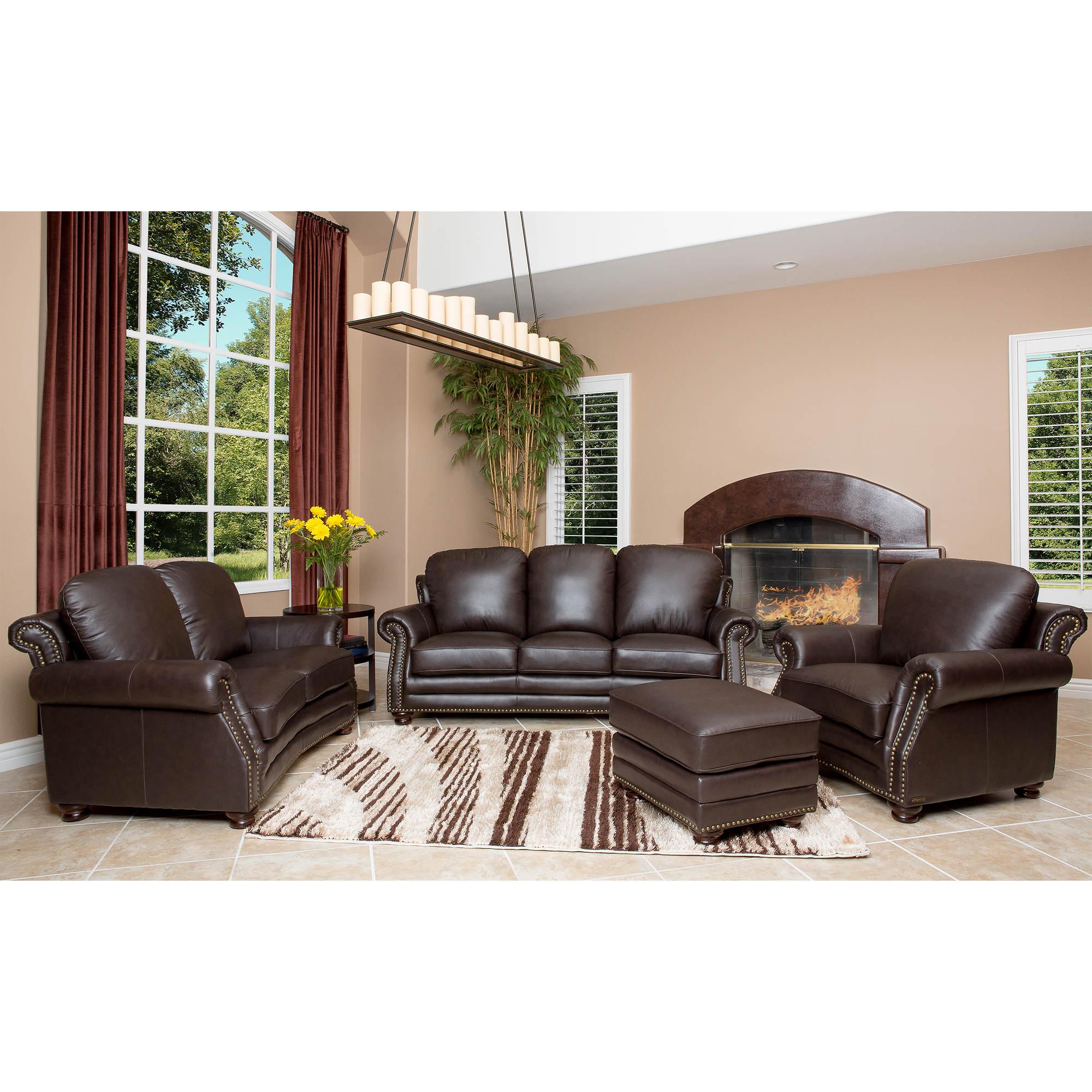 Abbyson Living Mona 4-Pc. Leather Living Room Set
