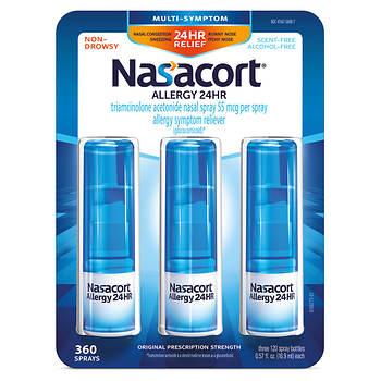 Nasacort Allergy 24 Hour Spray 3 Pk057 Oz Bjs Wholesale Club
