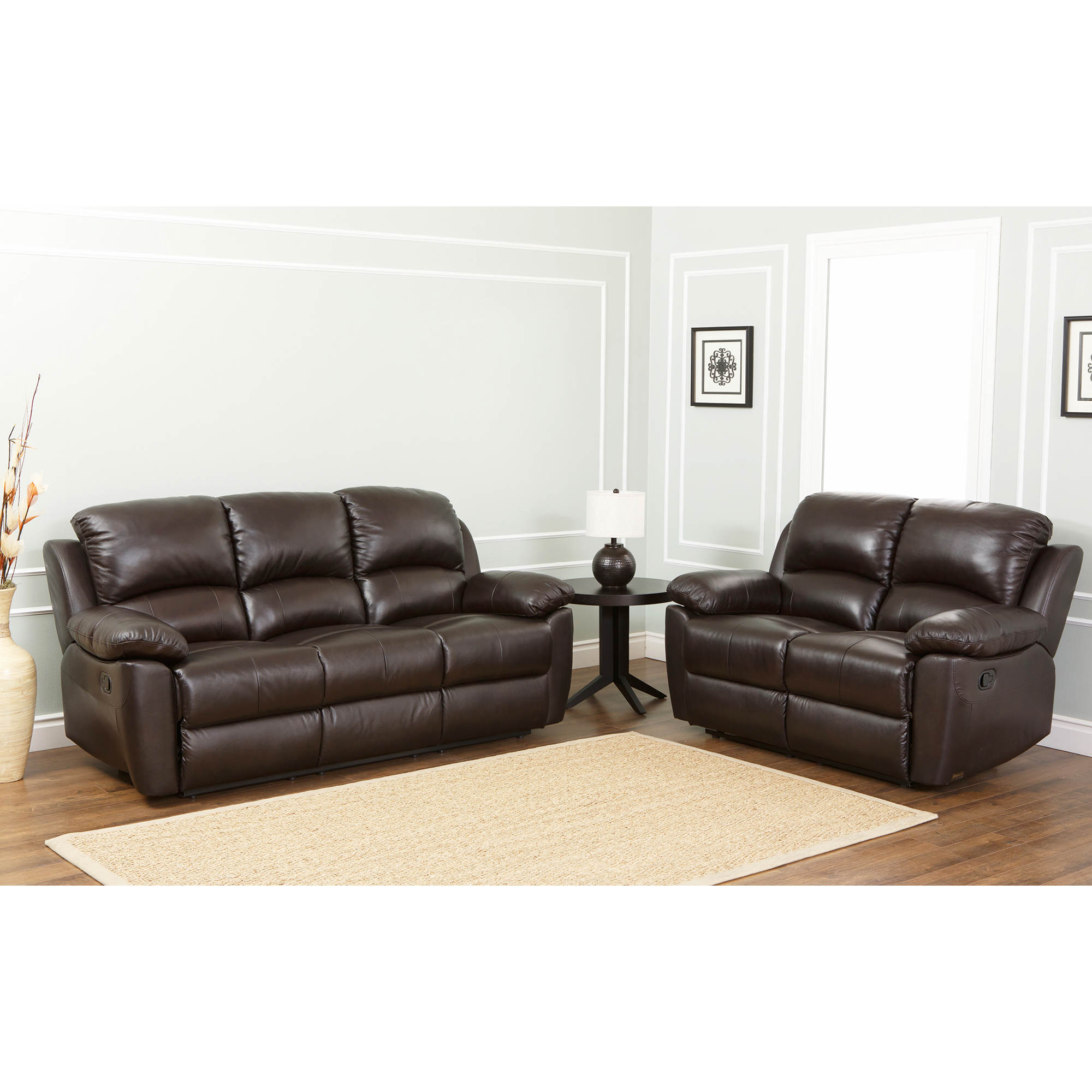 Abbyson living toscana reclining sofa and loveseat espresso brown