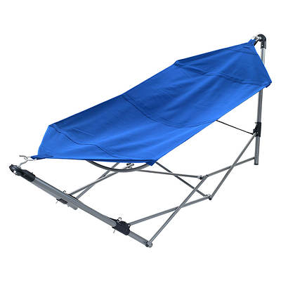 Trademark Global Portable Hammock With Frame Stand And Carrying Bag - Blue