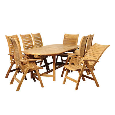 Amazonia Maura 9-Pc. Teak Extendable Oval Patio Dining Set - Natural