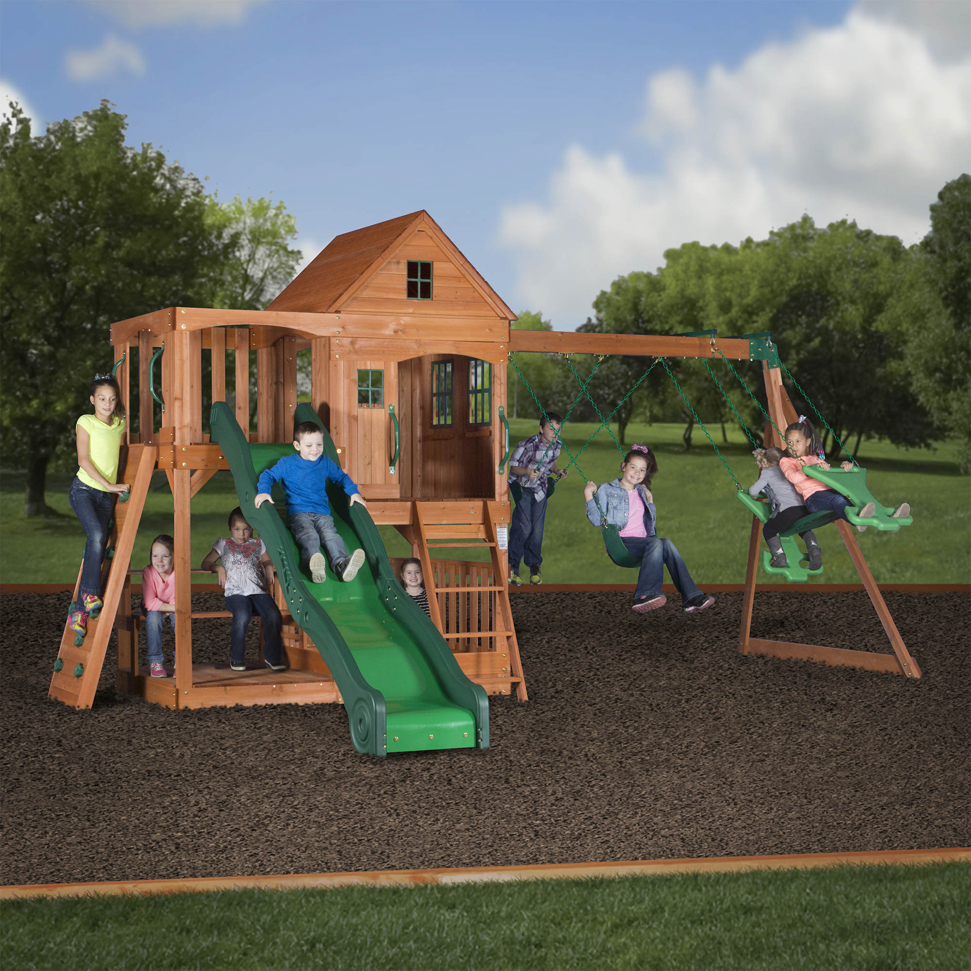 and somerset interesting sets for wood plus design backyard small with epanse discovery gravel garden playsets pea grass green outdoor swing set playground