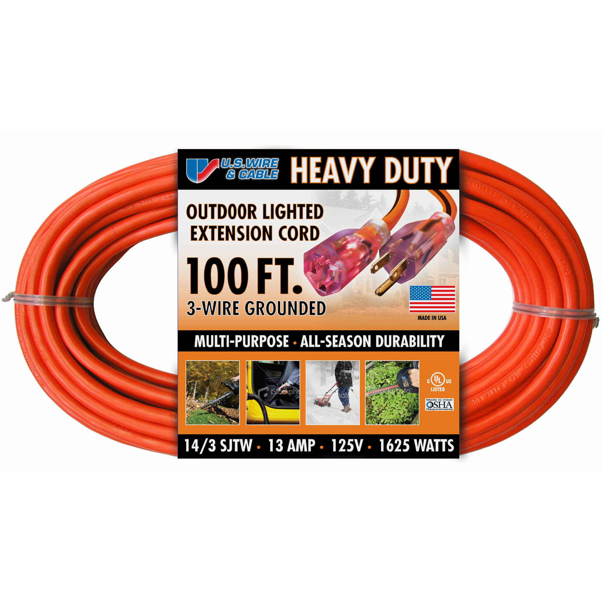 Us Wire Cable 100 Extension Cord Orange Bjs Wholesale Club Electrical 0 Undefined