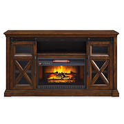 Allstead Barn Door Fireplace TV Stand Console