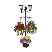 Sun-Ray Martens 2-Head Solar Lamp Post and Planter - Black