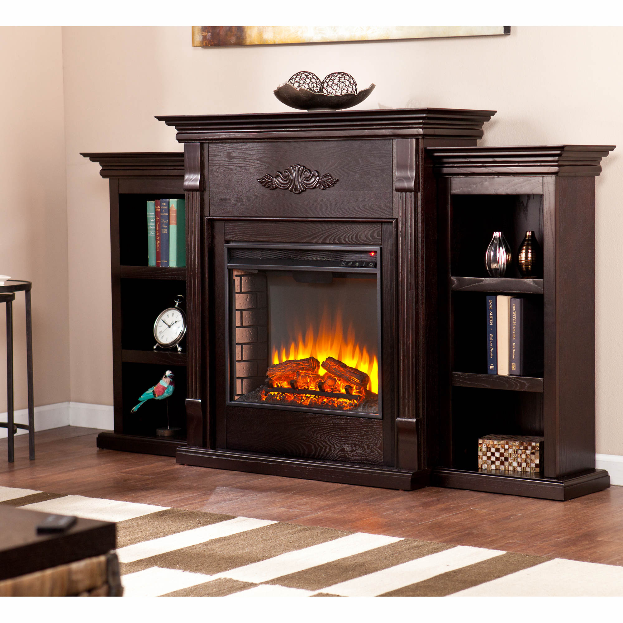 sei newport electric fireplace with bookcases classic espresso bj 39 s wholesale club. Black Bedroom Furniture Sets. Home Design Ideas