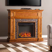 SEI Elgin Simulated Stone Media Center Electric Fireplace - Whiskey Ma