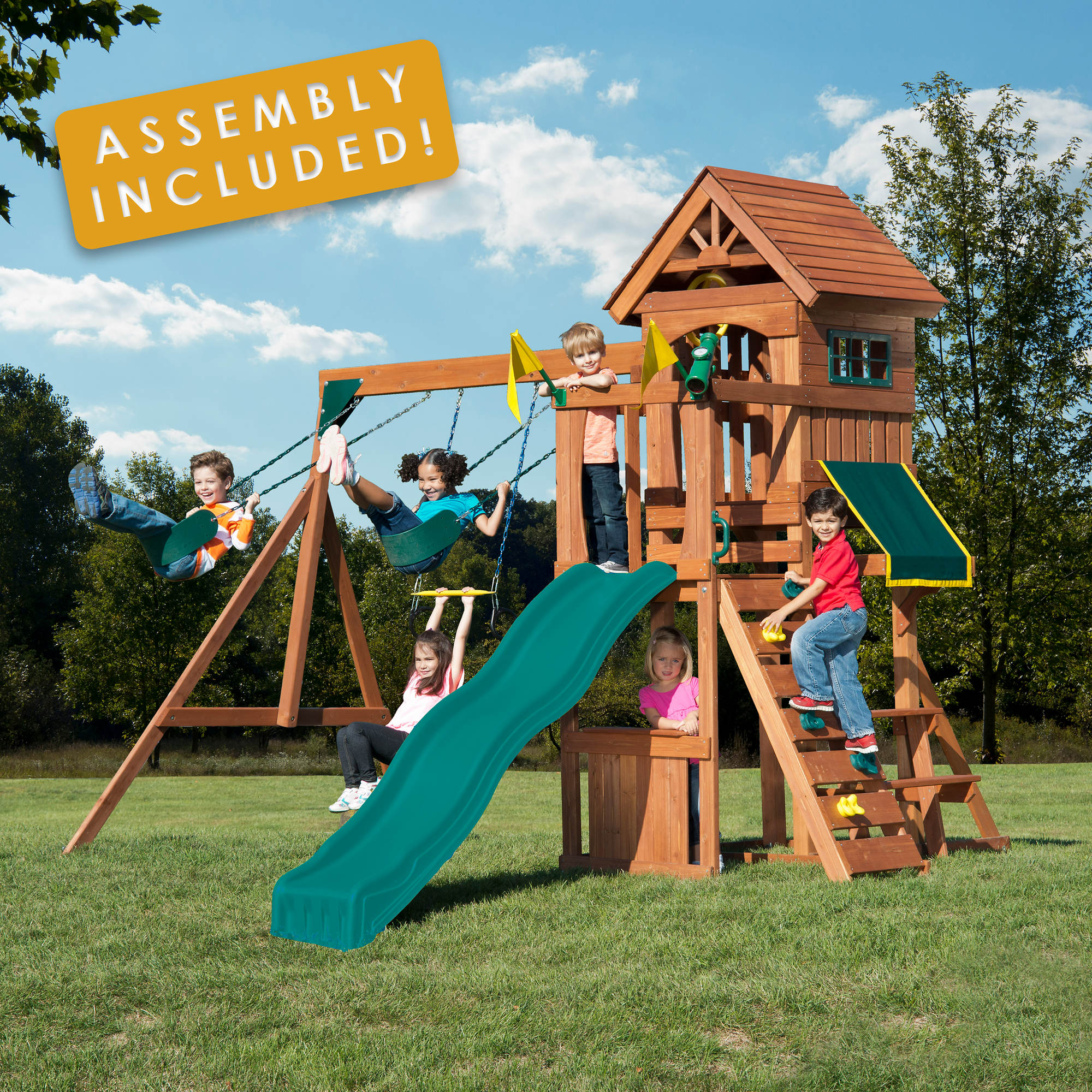 Backyard Play Systems Swing Fort Swing Set With