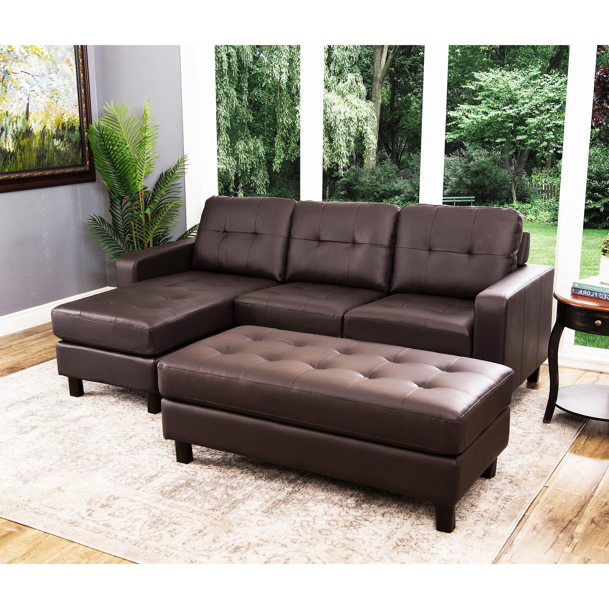 Abbyson Living Taylor Leather Reversible Sectional And