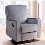 Abbyson Living Bailey Fabric Swivel Glider Recliner - Steel Gray